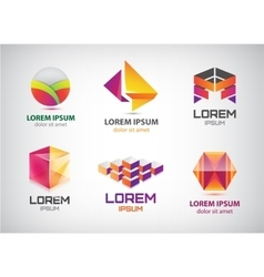 Set of abstract colorful 3d logos icons vector