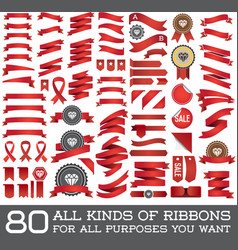 Big set of ribbons and labels in retro and vintage vector