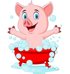 Cartoon pig bathing waving hand vector
