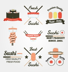 Sushi flat design vintage label vector