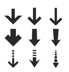 Down arrows flat icon set vector