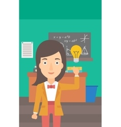 Woman pointing at light bulb vector