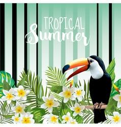 Toucan bird background retro pattern tropical vector