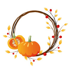 autumn wreath with pumpkins vector image