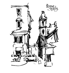 Black and white freehand sketch drawing of rome vector