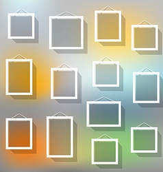 Blank picture frame set on blured background vector image vector image