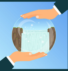 businessman holding glass bowl with waterfall vector image vector image