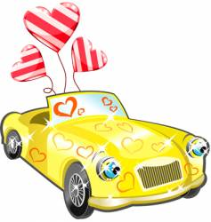 Car with hearts cartoon vector