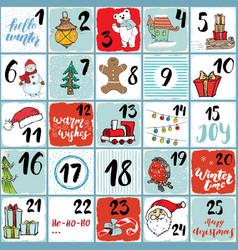 christmas advent calendar winter elements set vector image