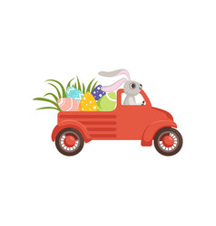 Cute little bunny driving vintage truck with vector