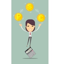 Female accountant manages money vector image vector image