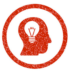 Intellect bulb rounded grainy icon vector