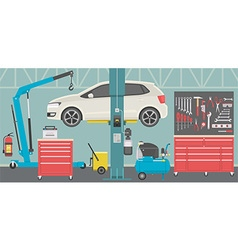 Interior of a car repair shop vector