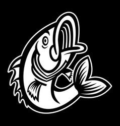 Jumping bass fish icon vector