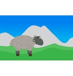 Lamb Walks Eats the Grass EPS10 vector image