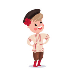 little boy wearing traditional costume of russia vector image vector image