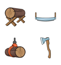 Log on supports two-hand saw ax raising logs vector