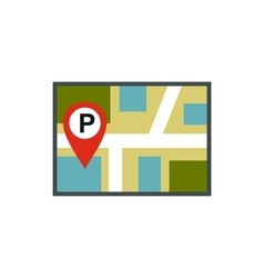 Map of JPS with a parking sign icon flat style vector image vector image