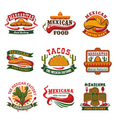 Mexican cuisine fast food restaurant emblem design vector