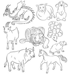 Nine chinese calendar animals vector