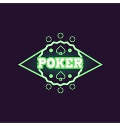 Round green poker neon sign vector