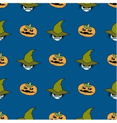Seamless pattern from pumpkins and ghosts in hat vector