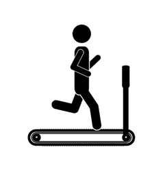 silhouette monochrome with man in treadmill vector image vector image