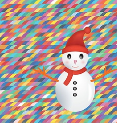 Snowman on colorful background vector image vector image
