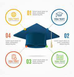 Student hat menu infographic option banner card vector