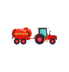 Tractor with fertilizer barrel icon vector