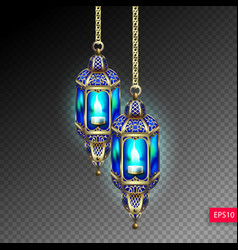 Two gold lanterns with blue light from a candle vector