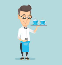 waiter holding tray with cups of coffeee or tea vector image vector image