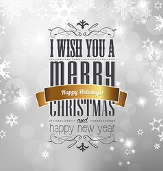 Christmas greeting card front cover page with vector image