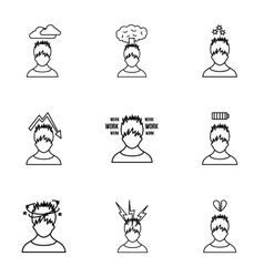 Human feelings icons set outline style vector