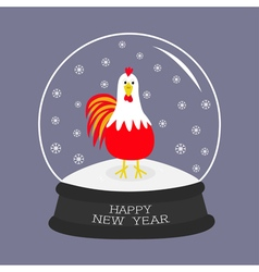 Rooster cock bird crystal ball with snowflakes vector