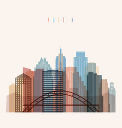 Austin state texas skyline detailed silhouette vector