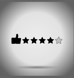 Thumb up and stars search rating icon vector