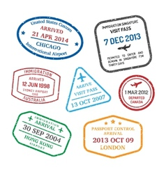 Travel visa stamps vector