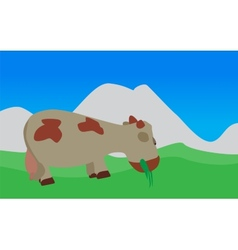 Cow walks eats the grass eps10 vector