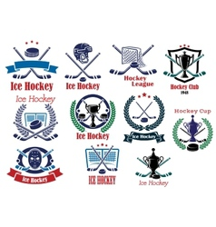 Ice hockey emblems symbols and logos set vector