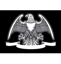 Eagle heraldry with blank ribbon vector
