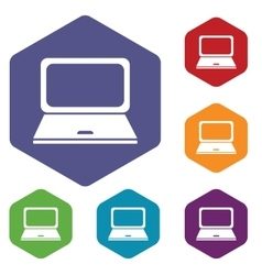 Laptop hexagon icon set vector