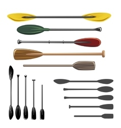 Paddles and oars icons vector
