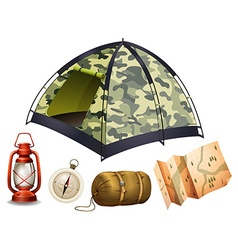 Camping set with tent and other objects vector