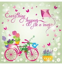 Image with flowers in pots and bicycle on sky blue vector