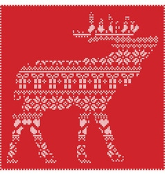 Reindeer body in scandinavian patternon red vector