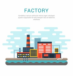 Industrial factory buildings flat style conceptual vector