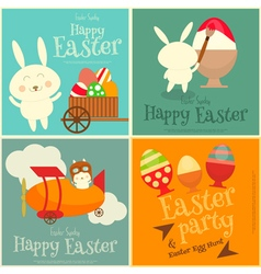 Easter cards set with easter bunny vector