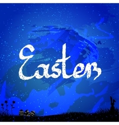 Easter background with easter bunny and eggs vector
