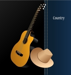 Classical acoustic guitar cowboy hat vector